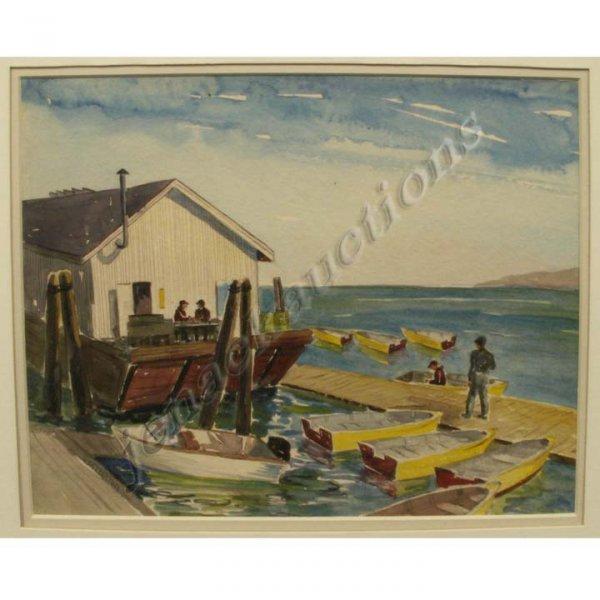1020: WATERCOLOR, BOATS ALONG THE HUDSON, CHATTERTON