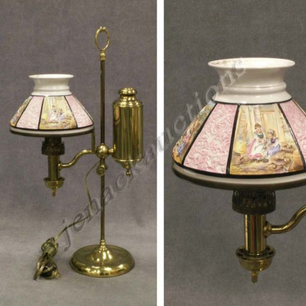 1030: BRASS SINGLE ARM STUDENT LAMP WITH SCENIC SHADE