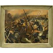 """1228: PAINTING, """"THE ALAMO"""", SIGNED ALTON S. TOBEY"""