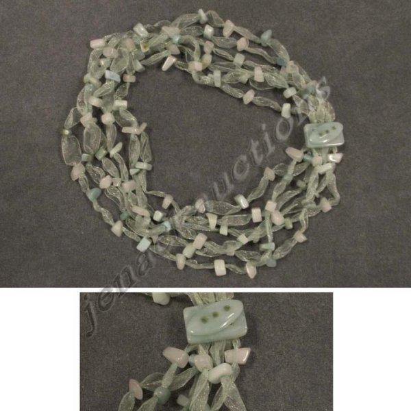 2006: WHITE & DYED GREEN AGATE & RIBBON FASHION NECKLAC