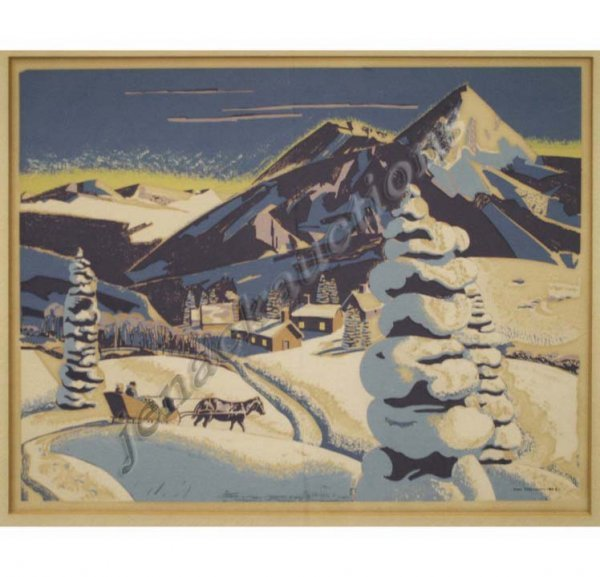 2012: SERIGRAPH, WINTER IN THE HILLS, SIGNED (IN PLATE)