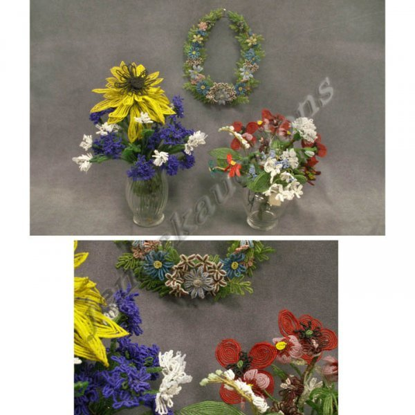 2018: LOT ASSORTED VICTORIAN BEADED FLOWERS