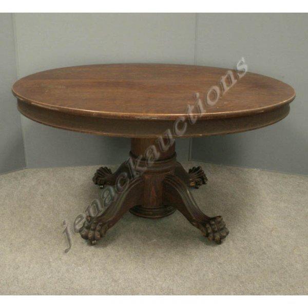 2211: LATE VICTORIAN CARVED OAK PEDESTAL BASE TABLE