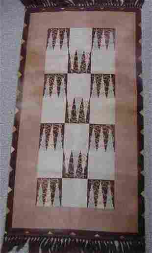 ART DECO WOVEN RUG, SIGNED VERSO C.1930