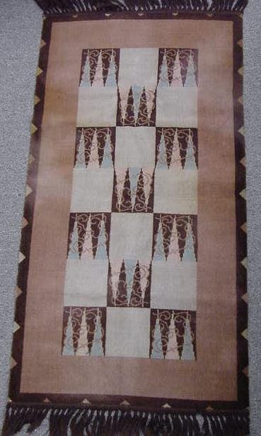 3: ART DECO WOVEN RUG, SIGNED VERSO C.1930