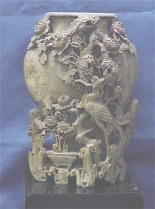 CHINESE CARVED SOAPSTONE/STEATITE VASE