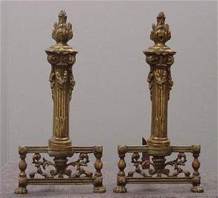 PAIR FRENCH BRASS CHENETS