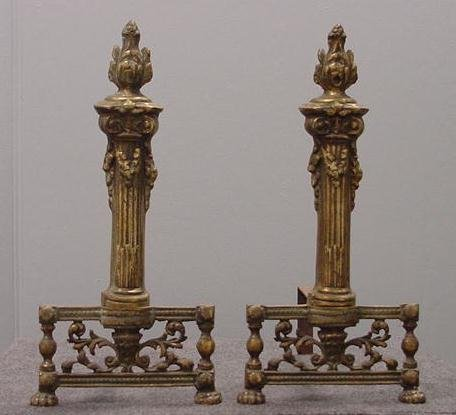 19: PAIR FRENCH BRASS CHENETS