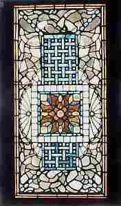 174: FINE VINTAGE LEADED GLASS WINDOW