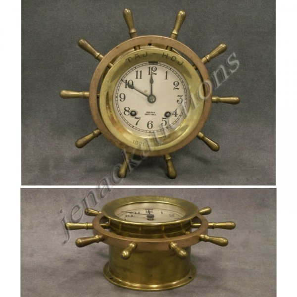 1: CHELSEA BRASS YACHT WHEEL CLOCK WITH SHIPS BELLS