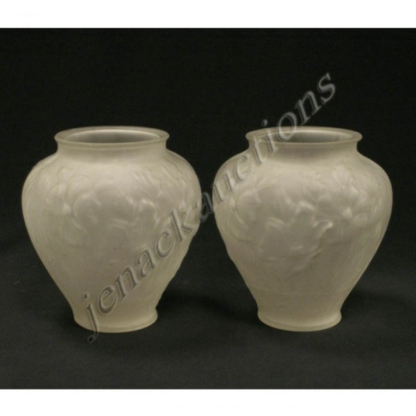 5: PAIR PHOENIX SATIN GLASS VASES