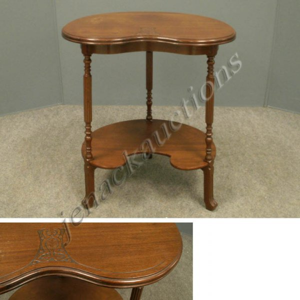 11: AESTHETIC CARVED WALNUT SHAPED SIDE TABLE