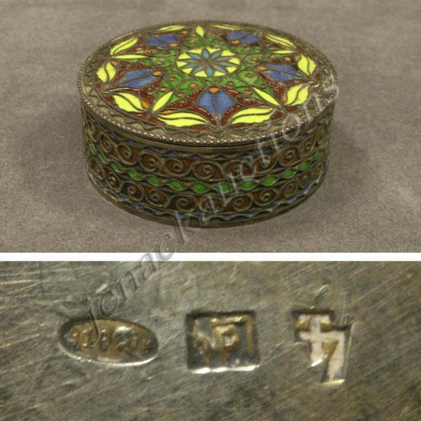 14: RUSSIAN 916 SILVER/ENAMEL ROUND COVERED BOX