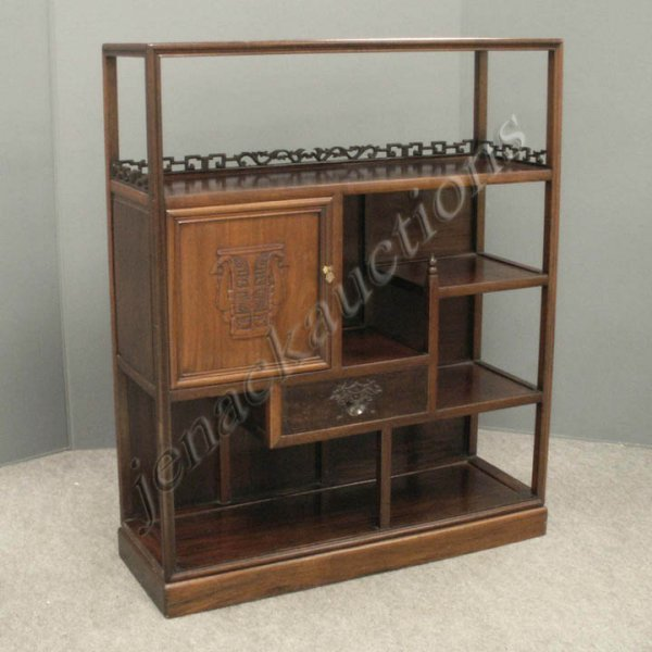 23: CHINESE CARVED HARDWOOD BOOK CASE/CABINET