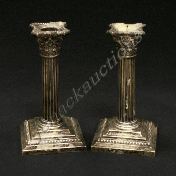 377: PAIR GORHAM STERLING COLUMN CANDLESTICKS