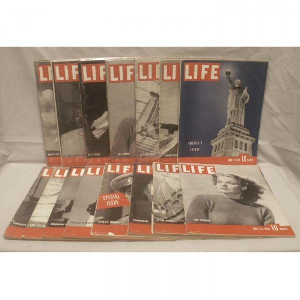 3: LOT (3) BOXES ASSORTED LIFE MAGAZINES 1939-1940