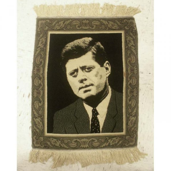 10: VINTAGE PERSIAN JF KENNEDY COMMEMORATIVE MAT