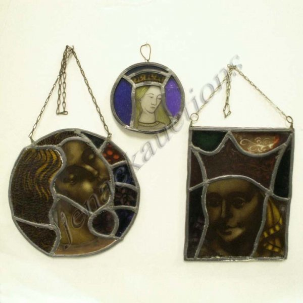9: LOT (3) STAINED & LEADED GLASS PANELS