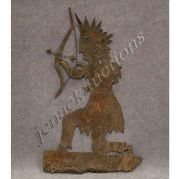 10: CUT SHEET METAL SILHOUETTE FIGURE OF AN INDIAN