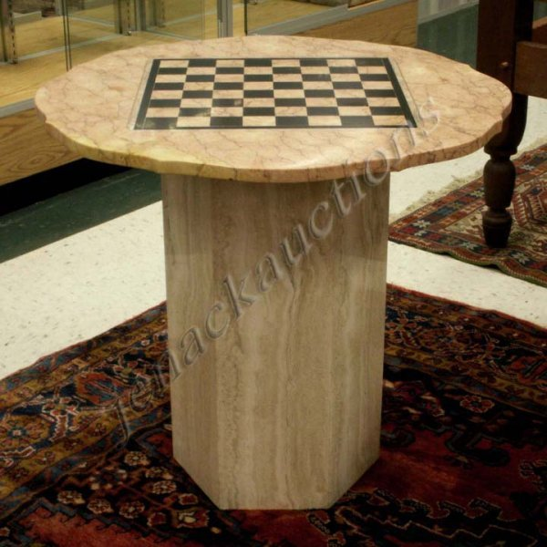 15: INLAID MARBLE CHESS TABLE