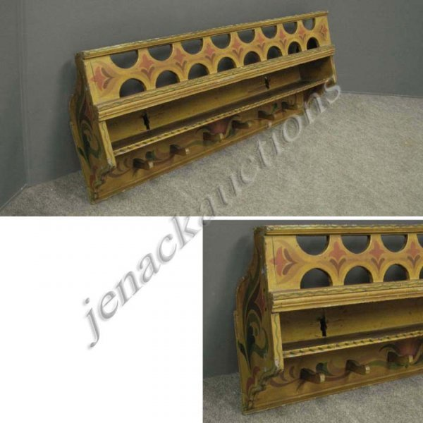 23: MORAVIAN STYLE PAINTED HANGING SHELF