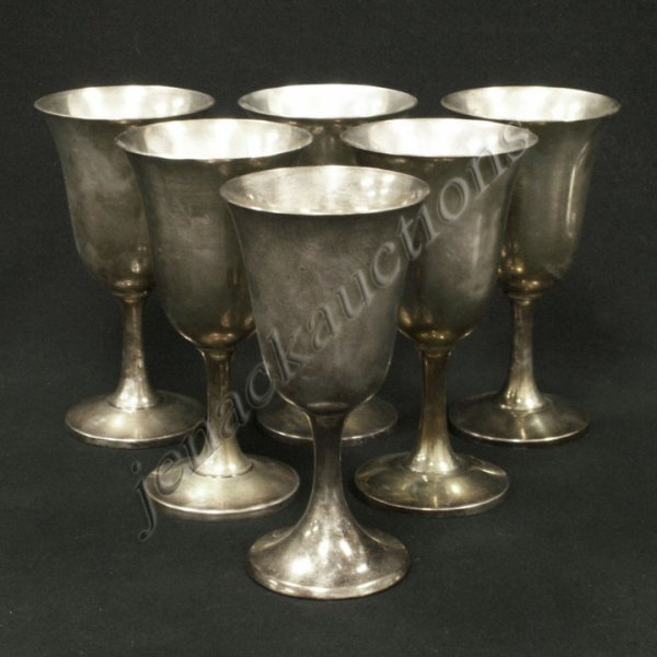 171: SET (6) WALLACE STERLING WINE GOBLETS