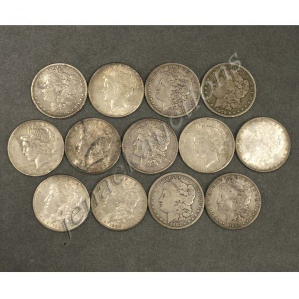 6: LOT (13) ASSORTED MORGAN/PEACE SILVER DOLLAR COINS