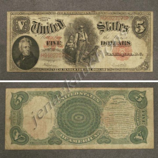 8: UNITED STATES SERIES 1907 $5 LEGAL TENDER NOTE