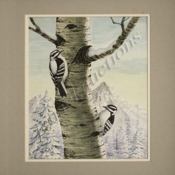 22: ROLLAND DINGMAN WATERCOLOR, PILATED WOODPECKERS