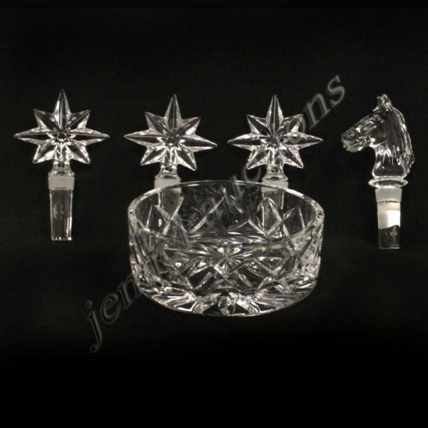 23: (5) WATERFORD CRYSTAL BOTTLE STOPPERS AND BOWL