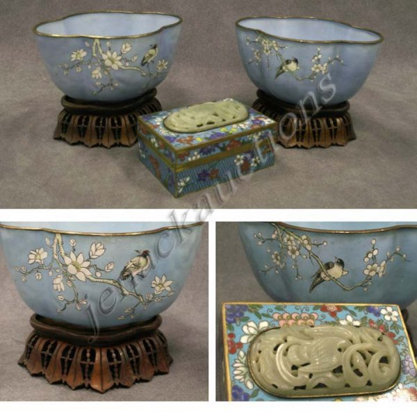 176: LOT (3) CHINESE CLOISONNE VASES AND BOX