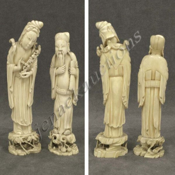 369: LOT (2) CHINESE CARVED IVORY FIGURES, REPUBLIC