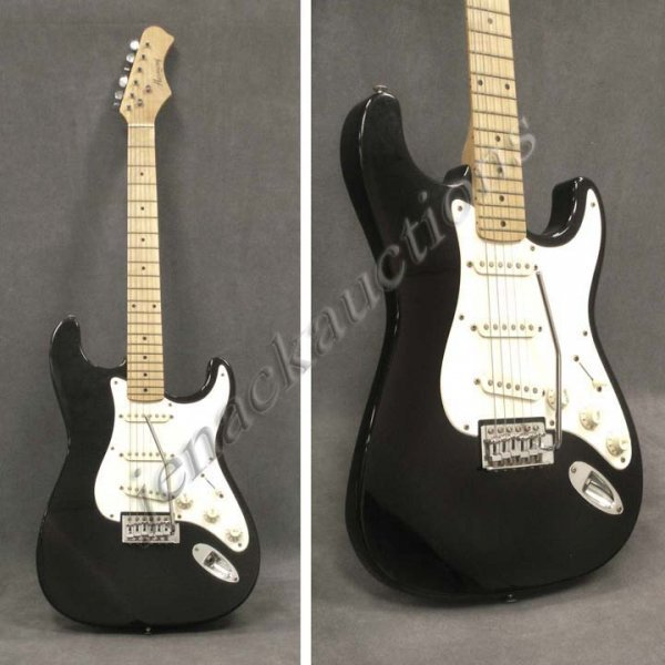 4: HARMONY STRAT STYLE SOLID BODY GUITAR WITH WAMMY