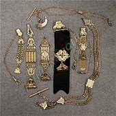 276 LOT 7 VICTORIAN GOLD FILLED WATCH CHAINS AND FOB