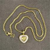 308 DAVID YURMAN GOLD  DIAMOND HEART PENDANT