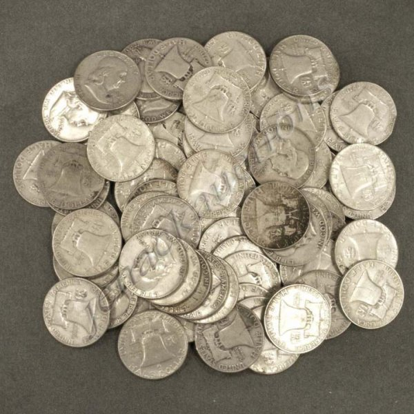 1: LOT (70) FRANKLIN SILVER HALF DOLLAR COINS