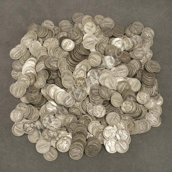 2: LOT (592) ASSORTED MERCURY SILVER DIMES