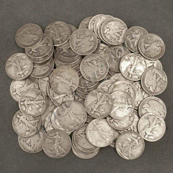 7: LOT (73) WALKING LIBERTY SILVER HALF DOLLAR COINS
