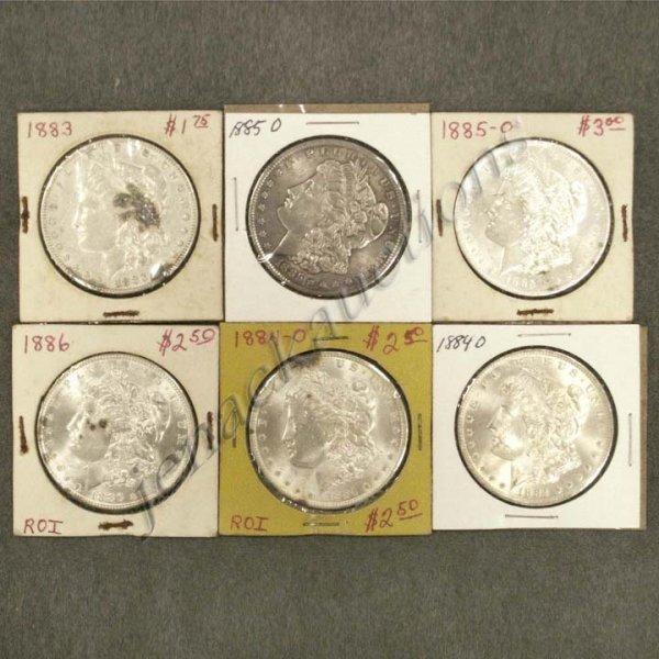 8: LOT (6) ASSORTED U.S. MORGAN SILVER DOLLAR COINS