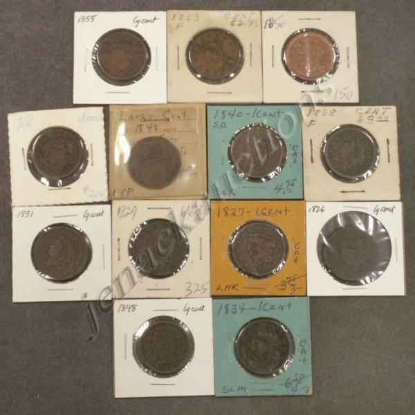 9: LOT (13) ASSORTED U.S. LARGE CENT COINS