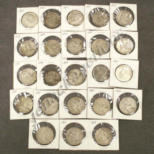 11: LOT (23) FRANKLIN/KENNEDY SILVER HALF DOLLAR COIN