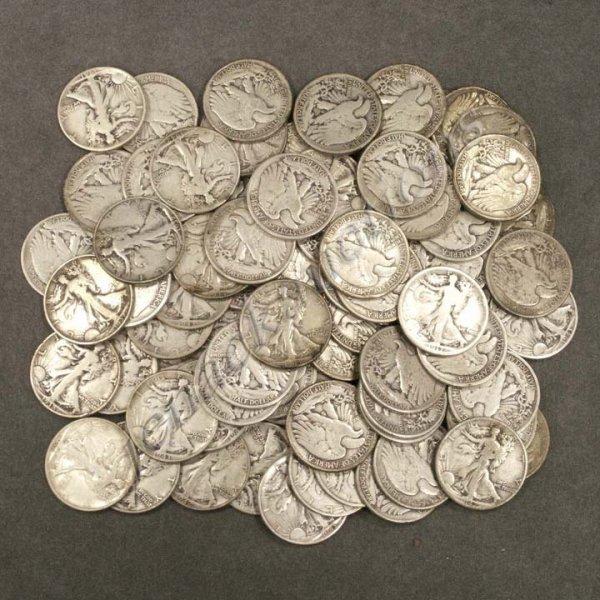 13: LOT (74) WALKING LIBERTY SILVER HALF DOLLAR COINS