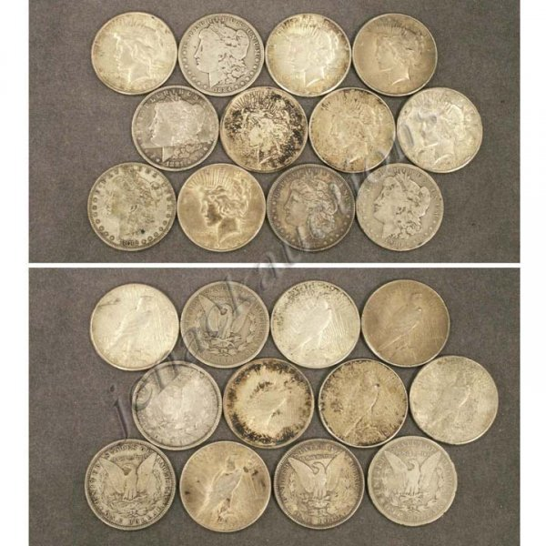15: LOT (12) ASSORTED MORGAN/PEACE SILVER DOLLAR COINS