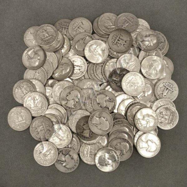 16: LOT (104) U. S. WASHINGTON SILVER QUARTER COINS