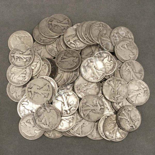 19: LOT (73) WALKING LIBERTY SILVER HALF DOLLAR COINS