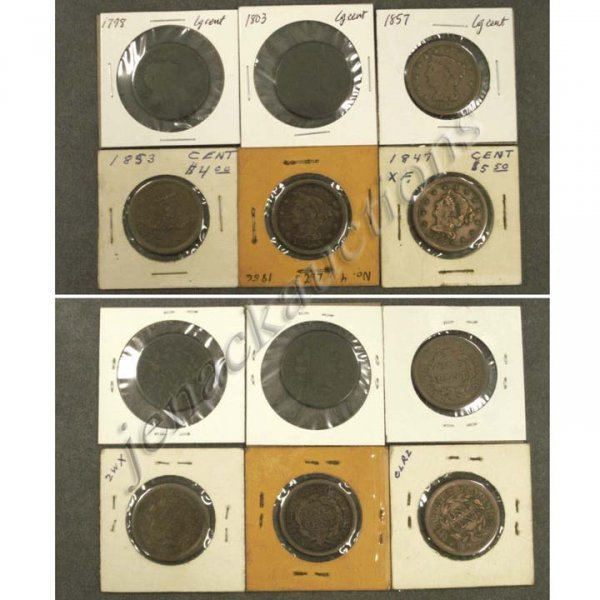20: LOT (6) ASSORTED U.S. LARGE CENT COINS
