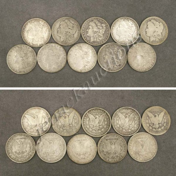 21: LOT (10) UNITED STATES MORGAN SILVER DOLLAR COINS