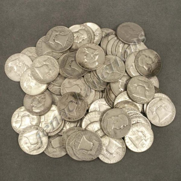 22: LOT (70) ASSORTED FRANKLIN SILVER HALF DOLLAR COIN