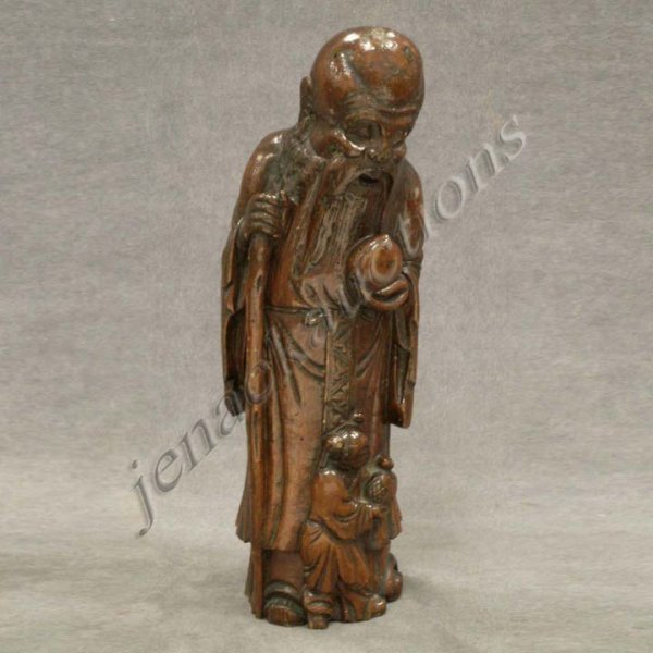13: CHINESE CARVED BAMBOO FIGURE OF SHOULAO/CHILED