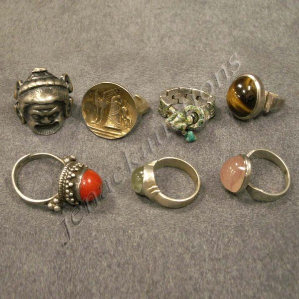 16: LOT ASSORTED SILVER RINGS INCLUDING NAPIER